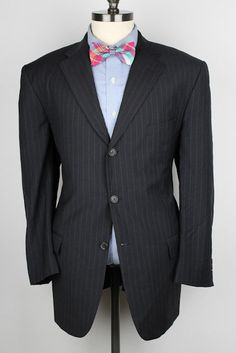 RECENT Valentino Roma Black Modest Striped Wool 44 R mens Suit #Valentino #ThreeButton