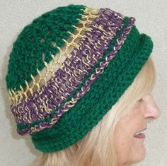 Mardi Gras Hat Green Purple Gold Crochet. $45.00, via Etsy. https://www.etsy.com/treasury/NTM5ODkzNXwyNzI0MTAzMDk0/the-emerald-isle