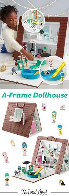 Bright, modern and filled with style, this A-Frame Dollhouse has it all. It includes vintage-inspired furniture, dolls and a house Plus, the set makes an eclectic gift for kids of all ages.
