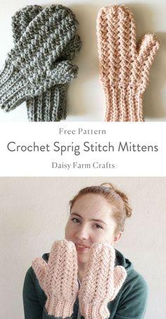 Crochet Sprig Stitch MIttens - Free Pattern