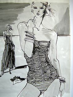"Kenneth Paul Block - ORIGINAL Black & White Fashion Illustration 18"" x 24"""