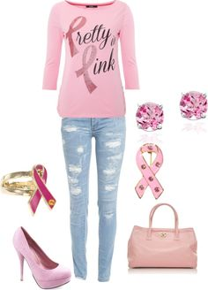 """Pretty in Pink Breast Cancer"" by ashley-thompson-1 on Polyvore"