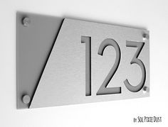 Customized House Sign Door Number Apartment Plaque Plate Slate Grey On White B