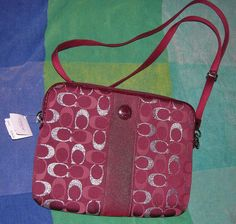 COACH PURSE TABLET BAG BURGUNDY RED NEW WITH TAG SV/RED MULTI FREE SHIPPING   #Coach #TABLET