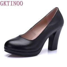 Genuine Leather shoes Women Round Toe Pumps Sapato feminino High Heels Shallow Fashion Black Work Shoe Plus Size 33-43 #Black high heels http://www.ku-ki-shop.com/shop/black-high-heels/genuine-leather-shoes-women-round-toe-pumps-sapato-feminino-high-heels-shallow-fashion-black-work-shoe-plus-size-33-43/