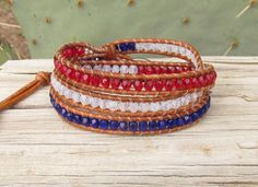 Patriotic Red White and Blue wrap bracelet by WorldOfSquirrelCraft, $35.00