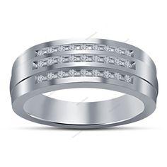 925 Silver Round Diamond 14K White Gold Finish Men's Wedding Anniversary Ring   #Bacio2jewel #MensBandRing #WeddingEngagementAnniversaryGift