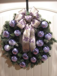 Purple Christmas Wreath by KaKayCrafts on Etsy
