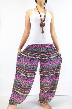 ST28 Thai Women Clothing Comfy Rayon Bohemian Trousers Hippie Baggy Genie Boho Pants Colorful Harem Trousers, Trousers Women, Hippie Boho, Bohemian Style, Yoga Pant, Boho Pants, Cotton Bag, One Size Fits All, Woven Fabric