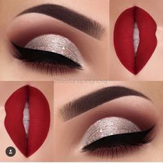 Party glam makeup | Silver glitter and matte brown cut crease eye look with bold red matte lips...
