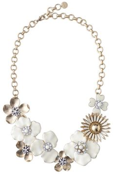 Dot Bloom Necklace by Stella & Dot. Image of hand-painted enamel flower necklace with Czech glass stones.
