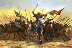 Egyptian ( Fatimides ) cavalry by Edouard Groult on ArtStation. Greek Warrior, Fantasy Warrior, Fantasy Kunst, Fantasy Art, Warrior Paint, The Elder Scrolls, Islamic Paintings, Historical Art, Fantasy Illustration