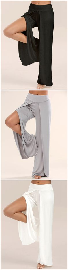 d5ab49e5be4 10.15 High Split Palazzo Pants Summer Pants Outfits