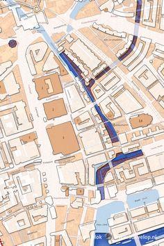 De Dubbelplattegrond Rotterdam 1939-2016 vergelijkt het vooroorlogs stratenpatroon met de stad van nu. Dit fragment toont het gebied tussen Coolsingel en Binnenrotte.