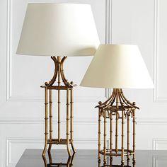 Hexagonal Pavilion Table Lamp - Antique Gold