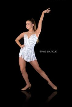 DANCE COSTUME - GLIMMER, $79, Jazz Tap Cabaret Dance Costume, White & Silver Laser Sequin Dance Costume, www.stageboutique.com