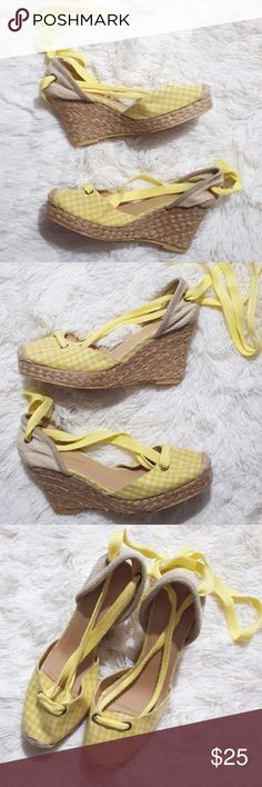 Jeffrey Campbell Plaid Weave Wedge Ankle Ties Look super cute in these adorable wedges. These yellow & white plaid wedges feature laces that tie around the leg. The shoes are used in good condition & the soles are in like new condition. Jeffrey Campbell Shoes