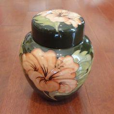Vintage MOORCROFT Hibiscus Ginger Jar on Olive Green