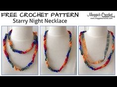 Starry Night Necklace Free Crochet Pattern - Right Handed - YouTube - Maggie's Crochet