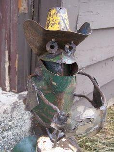 metal yard art ideas | Cowboy Rustic Metal Sculpture Art Mariachi band Frog Yard lawn garden ...