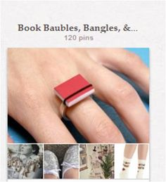 """Book Baubles, Bangles & Accessories: Jewelry and wearable accessories inspired by the field of librarianship or by books. Some have landed in """"Inspired by the Book"""" as well. Related tattoos are in """"Librarian Ink."""""""