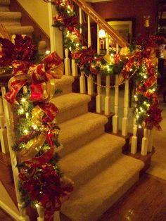 Lighted Christmas garland.