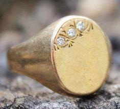 9ct Ring Yellow Gold Diamond Mens Jewellery Signet Sz R Vintage 9K 9 Carat Gift Mens Ring Signet Ring Mens Gold Ring Mens Jewellery by KittysVintageKitsch on Etsy
