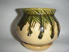 Vintage Melt Glazed Green Small Plant Pot Unusual by getgiftideas