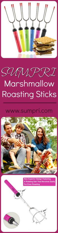 New design for Marshmallow Roasting Sticks: a rotating axle at a flick of your fingers to prevent marshmallow, hot dogs, or sausages from uneven cooking   Press This Link And Get Your Set Now: http://amzn.to/2b5q486 This is a set of 6 - the ONLY set of its kined- #SUMPRI #Marshmallow #Roasting #Sticks