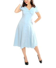 Add a pattern to make it cuter! This Light Blue Jeannie Dress - Women & Plus by Tatyana is perfect! #zulilyfinds