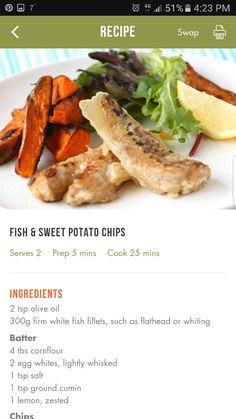 Healthy Eats, Healthy Foods, Healthy Recipes, 28 By Sam Wood, Battered Fish, Sweet Potato Chips, Interesting Recipes, Seafood, Woods