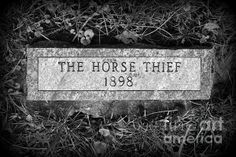 "This granite stone for the grave of a nameless horse thief is in the farthest corner of ""New Sante Fe"" cemetery on the Santa Fe Trail in Kansas City, #Missouri. Did he die naturally, I wonder? #SantaFeTrail #KansasCity http://fineartamerica.com/featured/the-horse-thief-grave-marker-catherine-sherman.html"