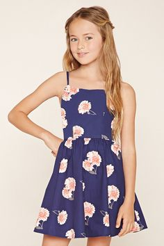 Forever 21 Girls - A woven cami dress complete with adjustable straps, a square neckline, a concealed side zipper, an allover floral print, a smocked back, and a subtle A-line skirt.
