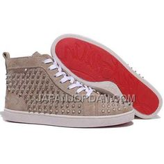 www.japanjordan.c... 割引販売 CHRISTIAN LOUBOUTIN LOUIS SPIKES HIGH TOP SNEAKERS TAUPE Only ¥15,865 , Free Shipping!
