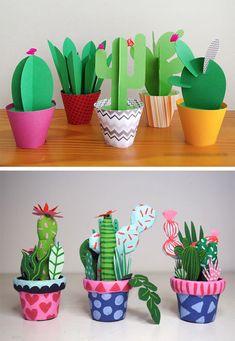 Красочные кактусы из бумаги своими руками. Поделки из бумаги.