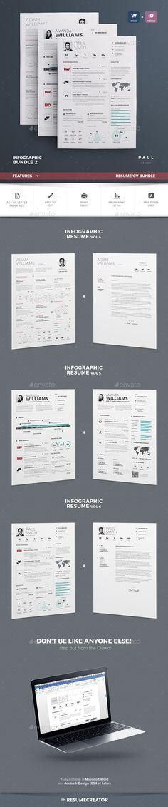 Infographic Resume/Cv Bundle Vol. 2  #indesign #indd #elegant • Download ➝ https://graphicriver.net/item/infographic-resumecv-bundle-vol-2/18704680?ref=pxcr
