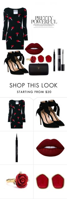 """""""Sem título #350"""" by bia-melo ❤ liked on Polyvore featuring Moschino, Gianvito Rossi, Givenchy, Christian Dior, Lime Crime, Oscar de la Renta, Diane Von Furstenberg and Prada"""