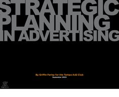 Strategic Planning In Advertising