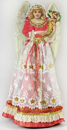 Reserved for Susan - Exquisite Tall Angel Topper with Cornucopia SS012314
