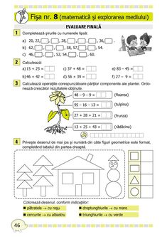 Clasa I : Fişe de recapitulare şi evaluare finală clasa I Montessori Math, Preschool Learning, Math For Kids, Activities For Kids, Visual Perceptual Activities, Romanian Language, Curriculum, Homeschool, 1st Grade Math Worksheets