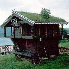 A sod or turf roof is a traditional Scandinavian type of green roof covered with sod on top of several layers of birch bark overlaying wooden roof boards.