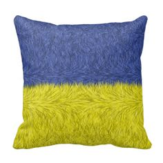 Blue and yellow abstract pattern throw pillow