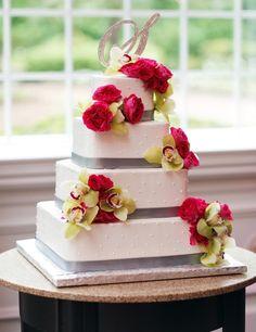 Pindots and Flowers Buttercream Wedding Cake