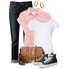 20 Casual Polyvore Outfits - white tank/tee, pink and white plaid button down, dark denim, navy Converse sneaks, brown bag