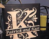 Last Name Initial, Split Letter, Engraved Wood Sign, Family Name, Anniversary Gift, Year Established, Wedding Gift
