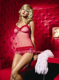 2pc. Polka Dots chemise with lace trim and G-string