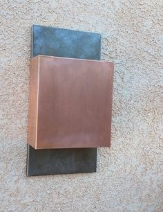 Contemporary Square Copper and Steel Light by copperandglass