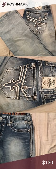 Men's jeans Brand new men's rock revival jeans I bought for my boyfriend he felt guilty wearing them in the garage so he never wore them! Rock Revival Jeans Boot Cut
