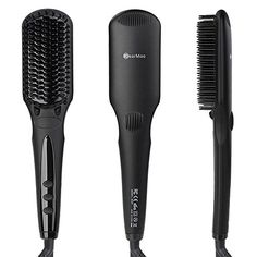 Hair Straightening Brush BearMoo Best Brush Hair Straightener for Silky Frizzfree Hair Safer Ceramic Faster Heating MCH Technology Double Anion AntiScald Comb Teeth Gift Packaging Matte Black *** Details can be found by clicking on the affiliate link Amazon.com.