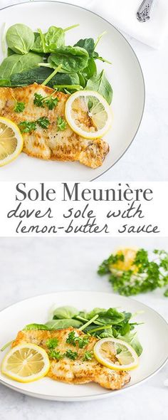 Sole Meuniere: Pan-fried dover sole served with a lemon-butter sauce - Ready in 10 minutes! Recipe via http://MonPetitFour.com